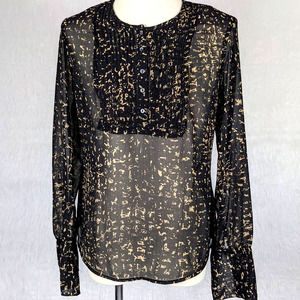 Converse One Star Sheer Pleated Ruffle Blouse XS